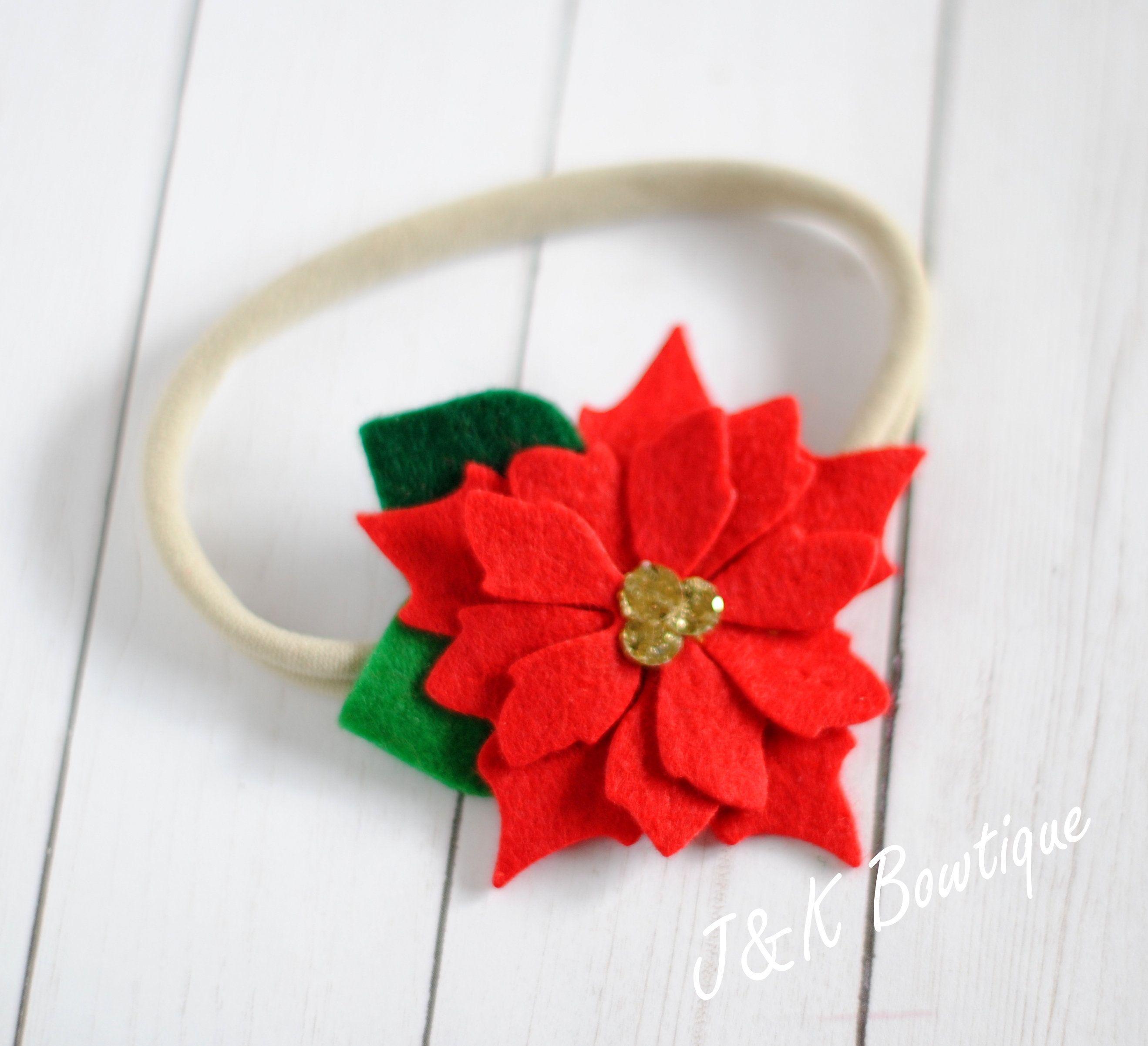 Felt Poinsettia Hair Clip Christmas Hair Bow Flower Hair Clips Hair Accessory Holiday Hair Bow Christmas Hair Bows Holiday Hair Bows Poinsettia Hair Clip