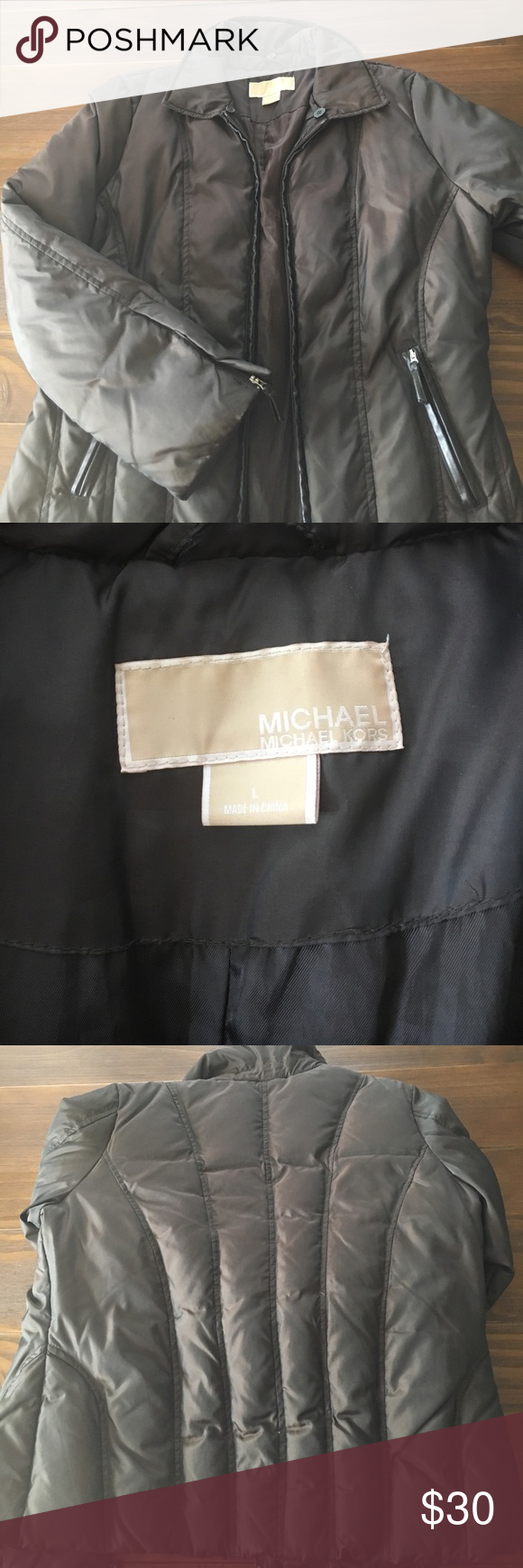 Michael Kors Puffy Jacket Dark brown with leather zipper snaps MICHAEL Michael Kors Jackets & Coats Puffers