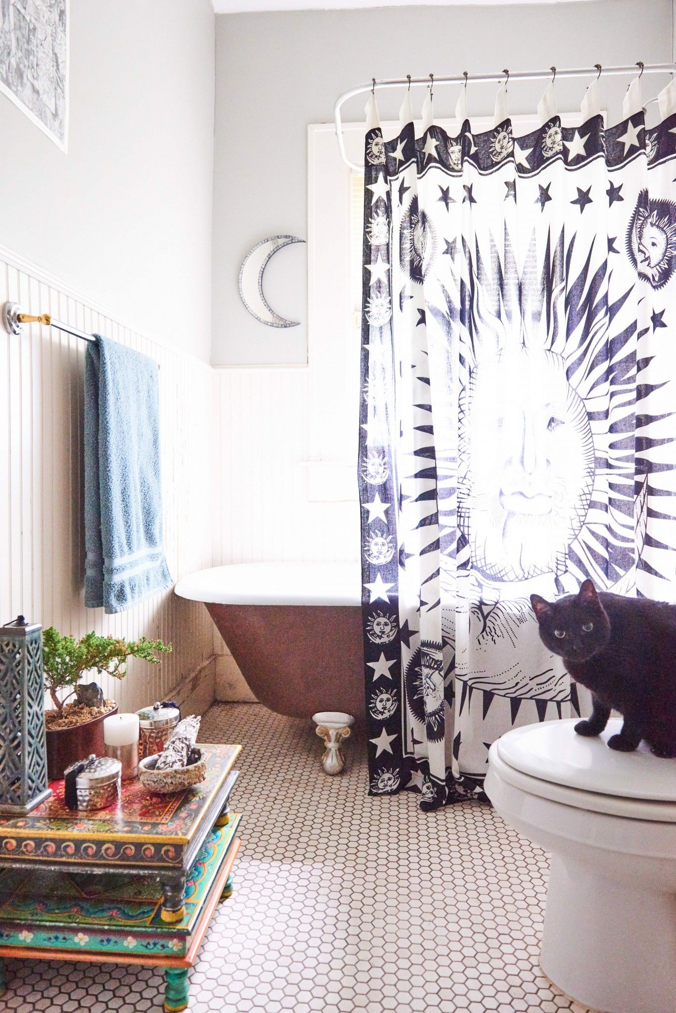 Bring The Celestial Bodies To Your Bathroom With This Celestial Shower Curtain Featuring A Sun Moon And S Earthy Home Decor Small Bathroom Decor Earthy Home