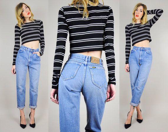 1980's LEE JEANS High WAIST Boyfriend Jeans worn-in blue denim ...