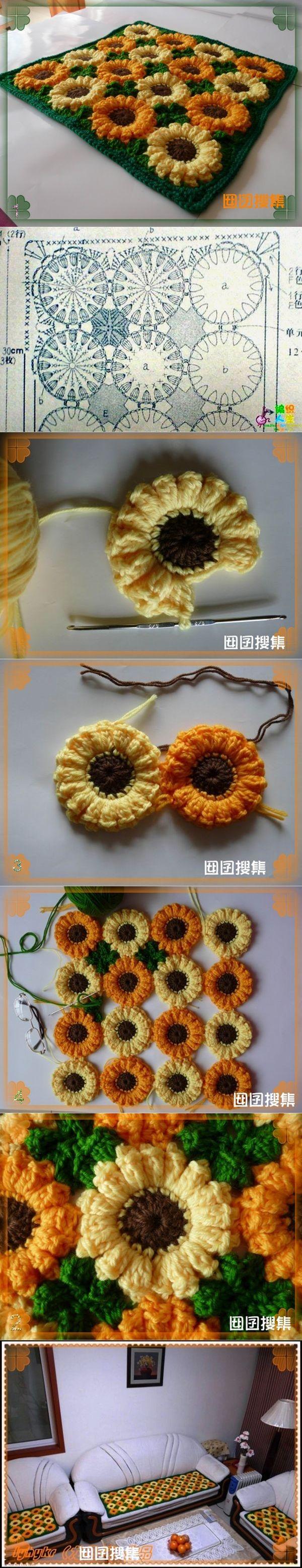 Wonderful DIY Crochet Sunflower Rug | Häkeln, Handarbeiten und Häckeln