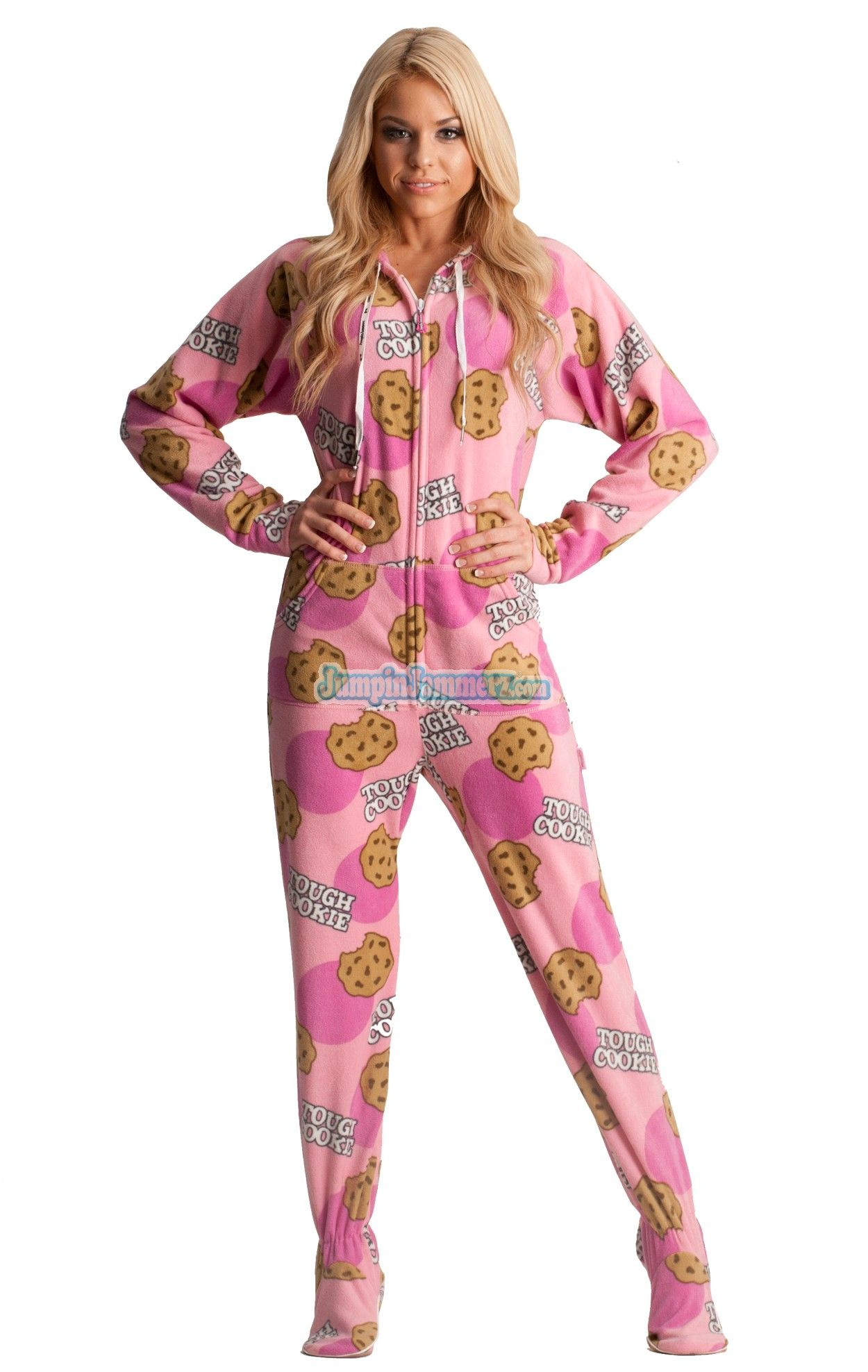 b648bc5a13c1 Tough Cookie Hooded Adult Pajamas. These fun one piece pjs feature a ...