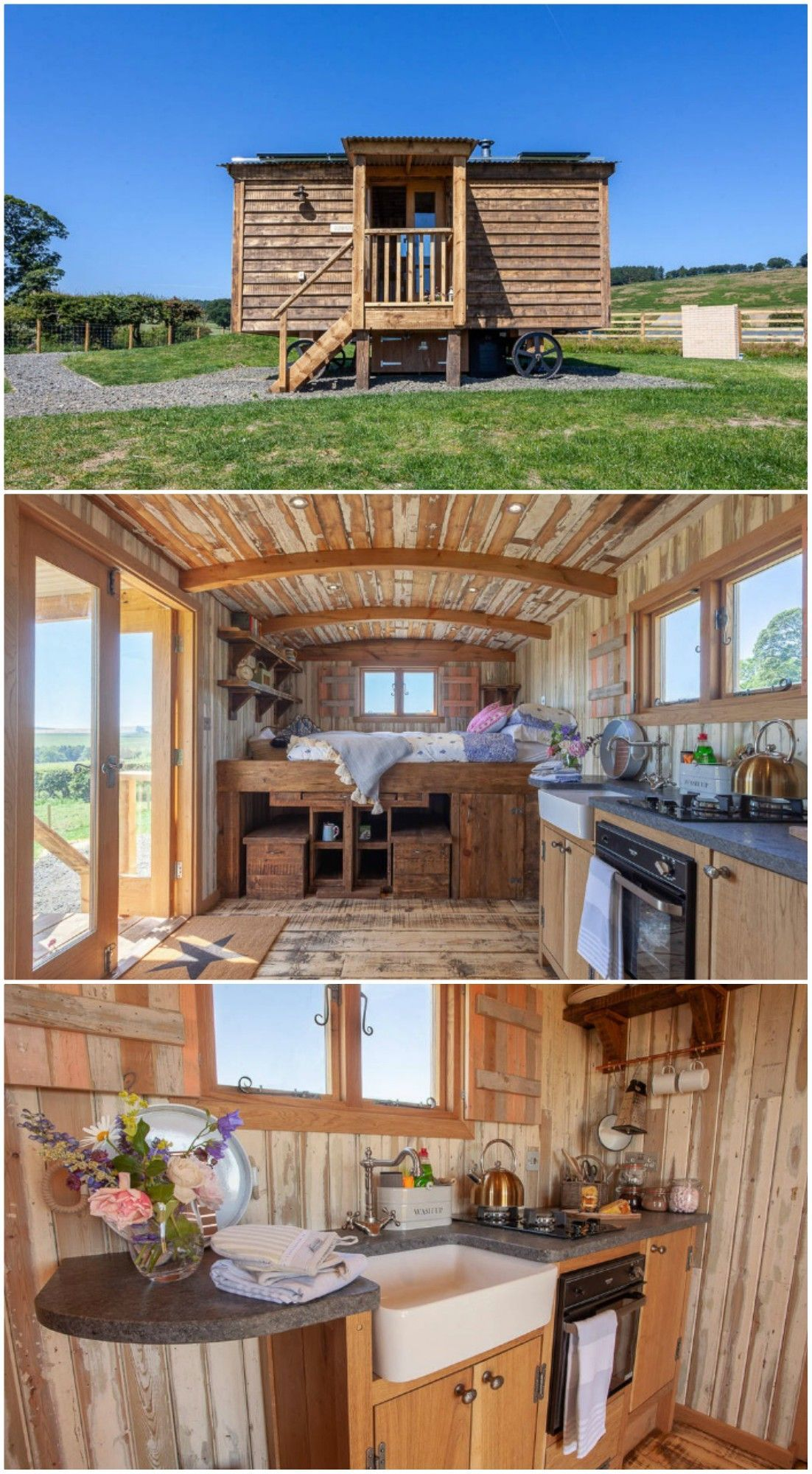 Photo of Charming shepherd's hut boasts an ingenious bed with built-in dining table
