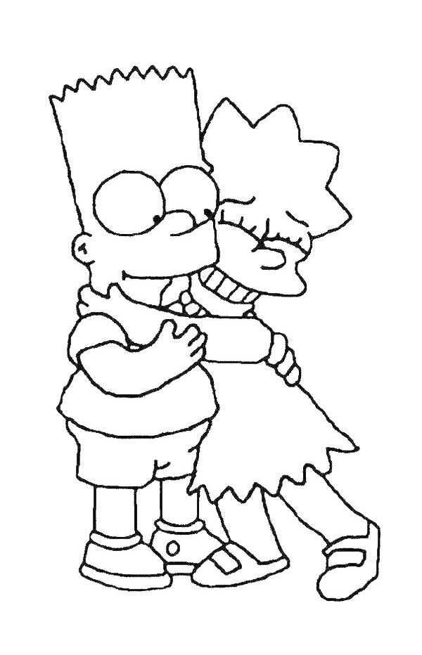 Bart And Lisa Simpsons Coloring Page Simpsons Drawings Cartoon Coloring Pages Cartoon Drawings