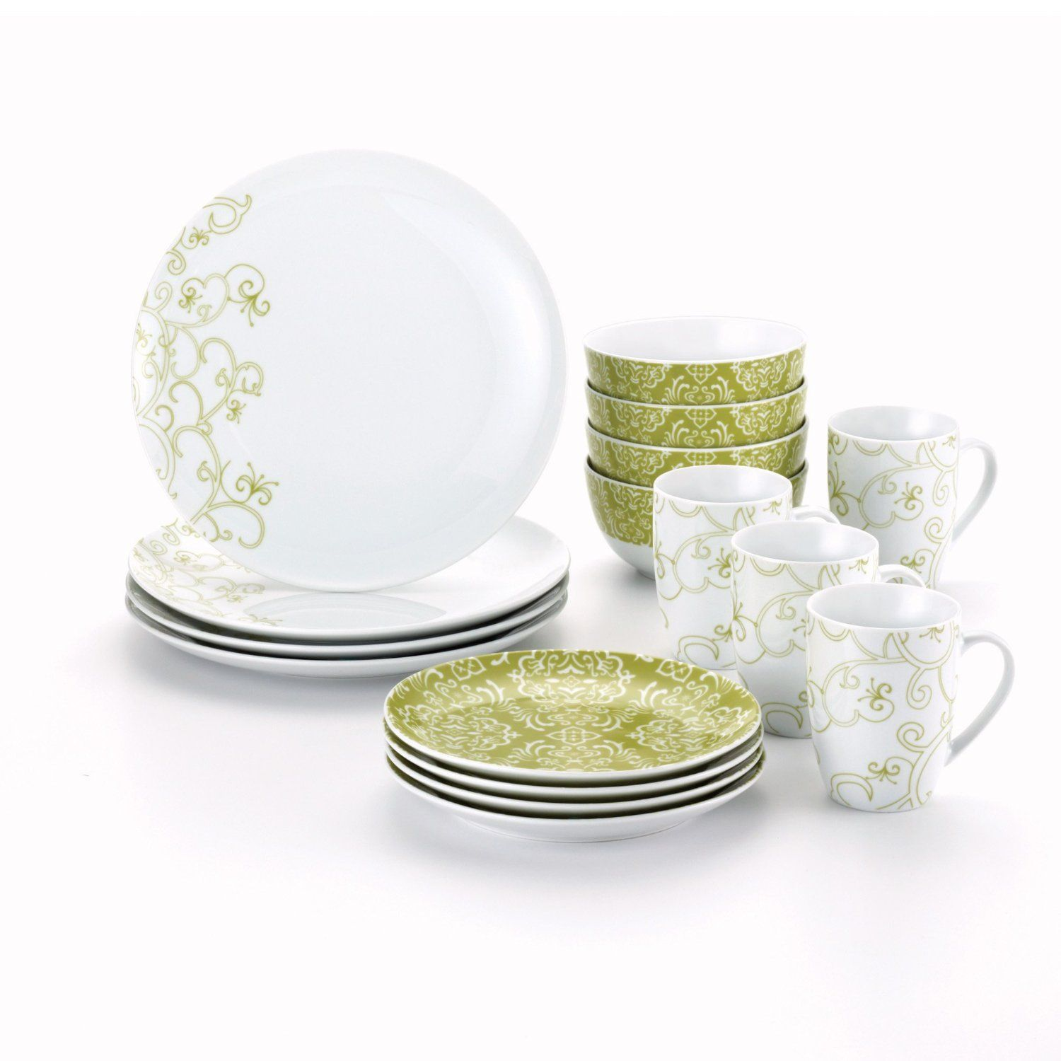 Rachael Ray Dinnerware Curly-Q 16-Piece Dinnerware Set Green List Price  sc 1 st  Pinterest : green tableware - pezcame.com