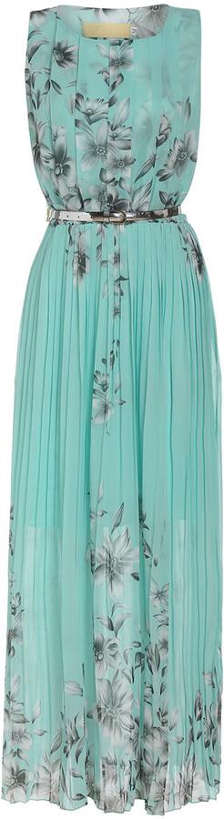 Sleeveless Florals Pleated Green Dress