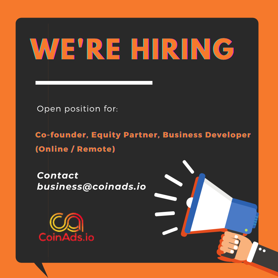 CoinAds.io Seeks CoFounder, Equity Partner, Business