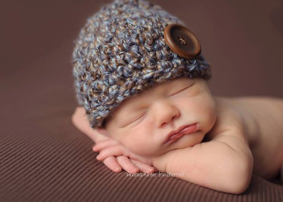 7cb3f9525e9 Newborn Baby Boy Beanie Hat Cap - Chunky - Photography Prop - Knitted    Crochet - Brown   Blue - Ba