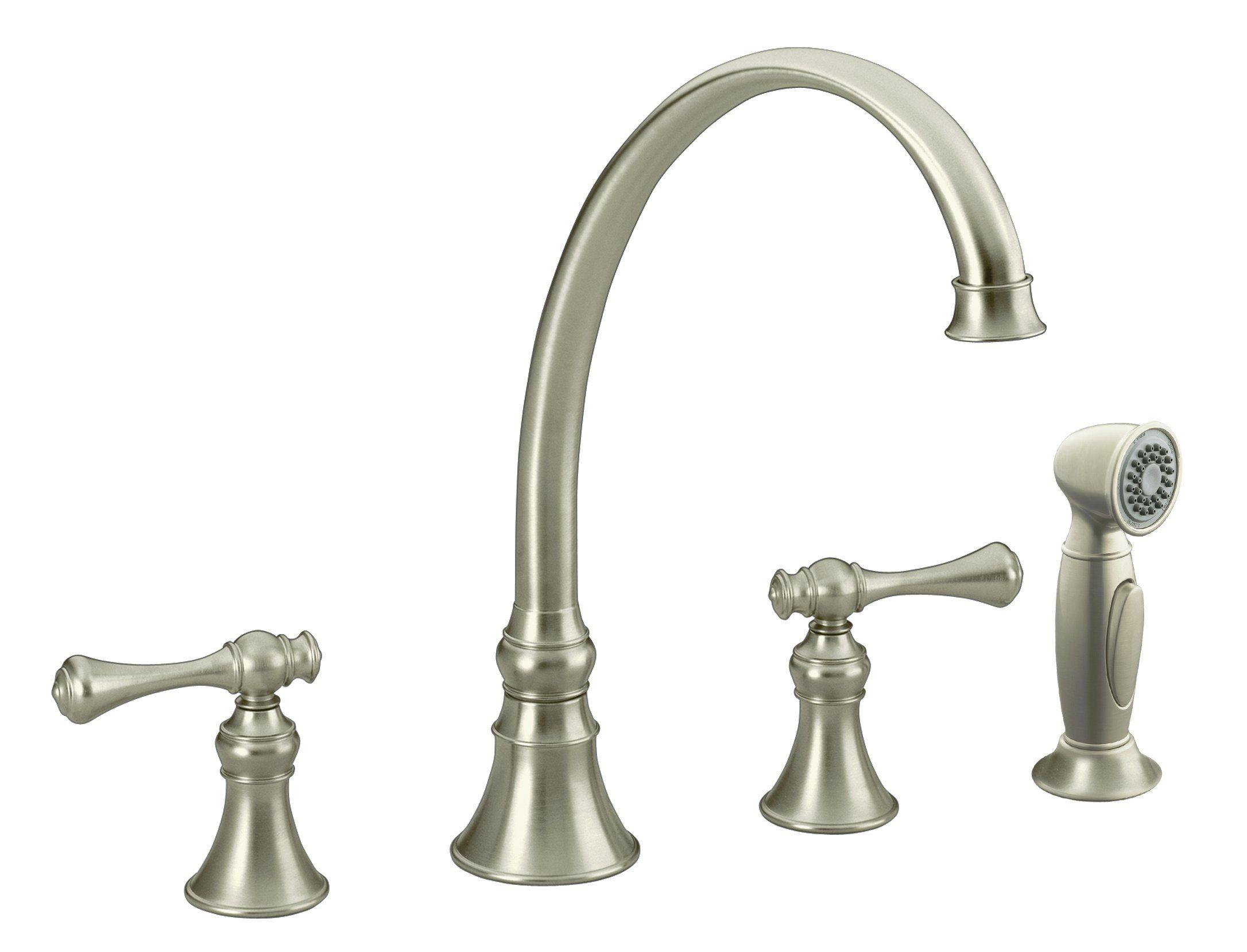 The Kohler K-16109-4A-BN Vibrant Brushed Nickel Revival Kitchen Sink ...