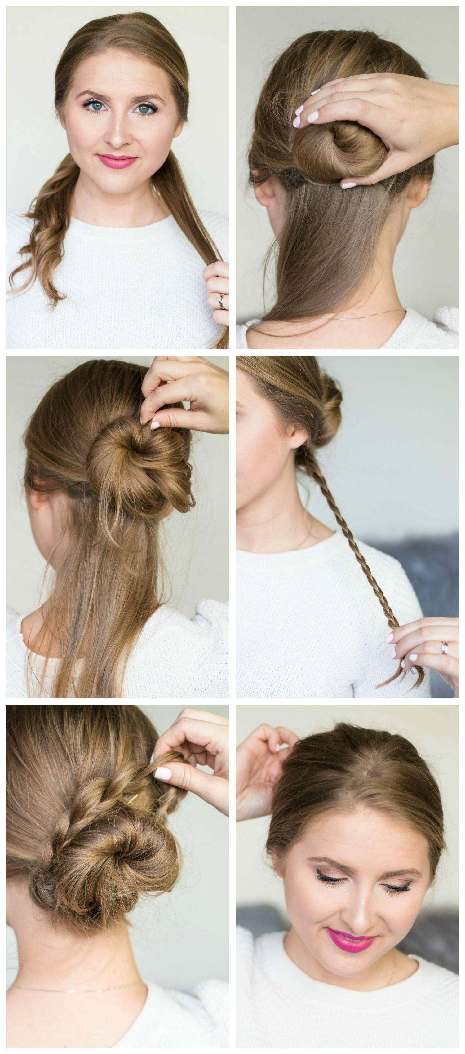 Quick & easy hairstyle tutorials (braided messy bun ...