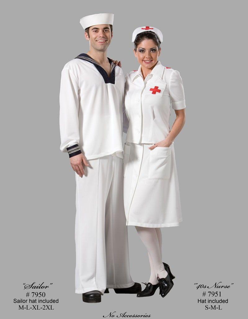 24dfe95504db3 WWII - 40's Era Sailor & Nurse Couples Costume Adult | <> Halloween ...