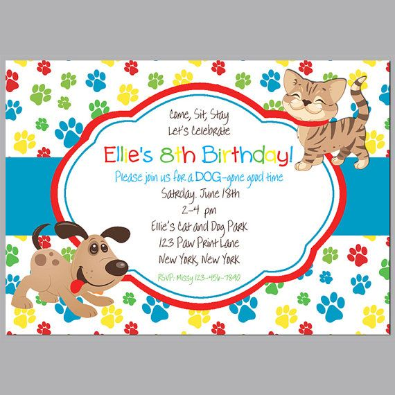 Cat and puppy dog invitation printable or printed with free shipping cat and puppy dog invitation printable or printed with free shipping primary color cats and dogs collection filmwisefo Choice Image