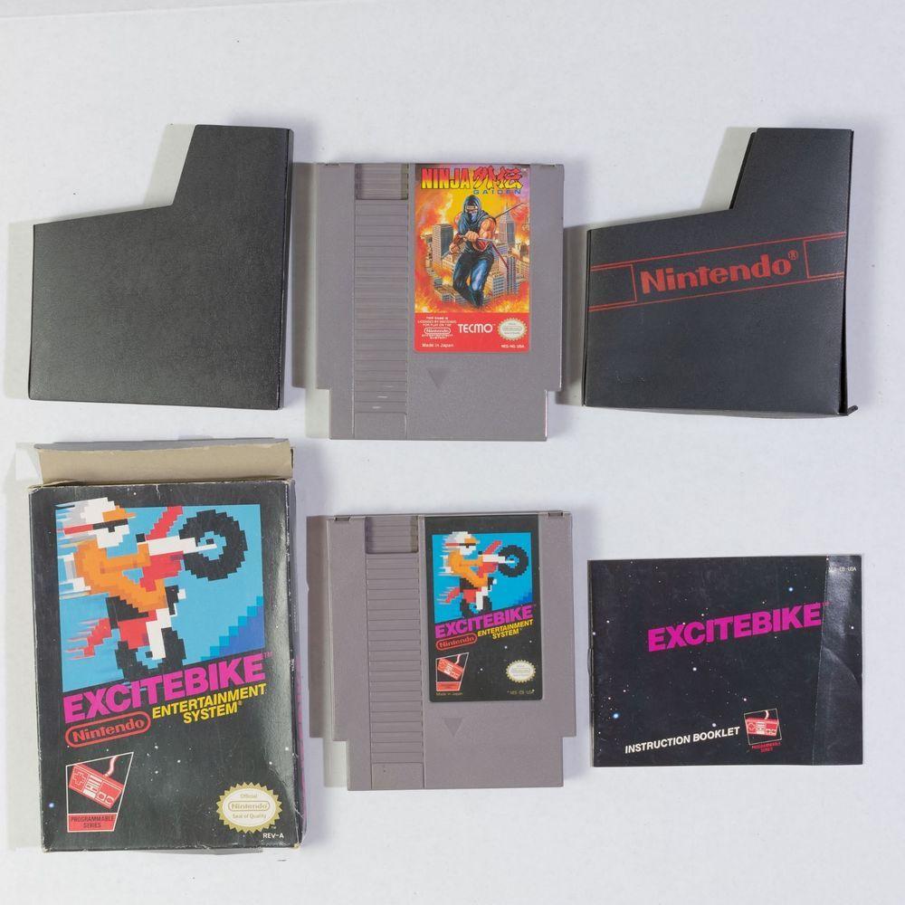 Vintage Nintendo Game Excitebike Nes Box Manual Slip Case Working