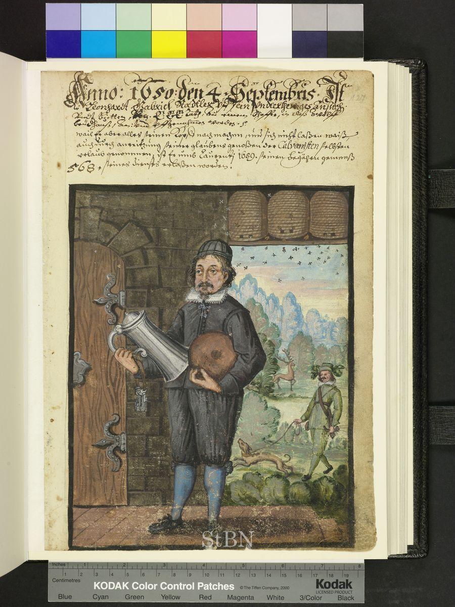 1650 beekeeper, beehives, dogs, deer.  Die Hausbücher der Nürnberger Zwölfbrüderstiftungen