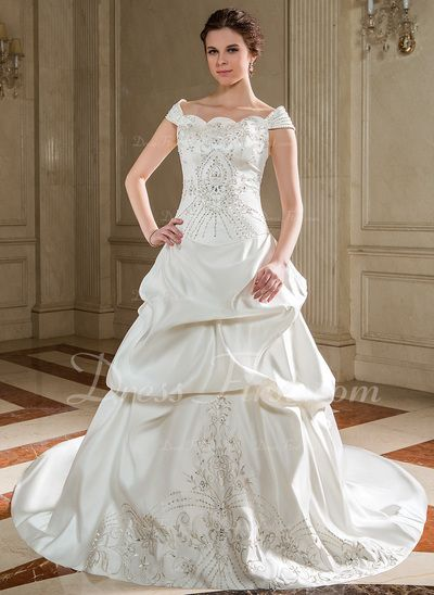 Ball-Gown Off-the-Shoulder Chapel Train Satin Wedding Dress With Embroidered Ruffle Beading Sequins (002012561)