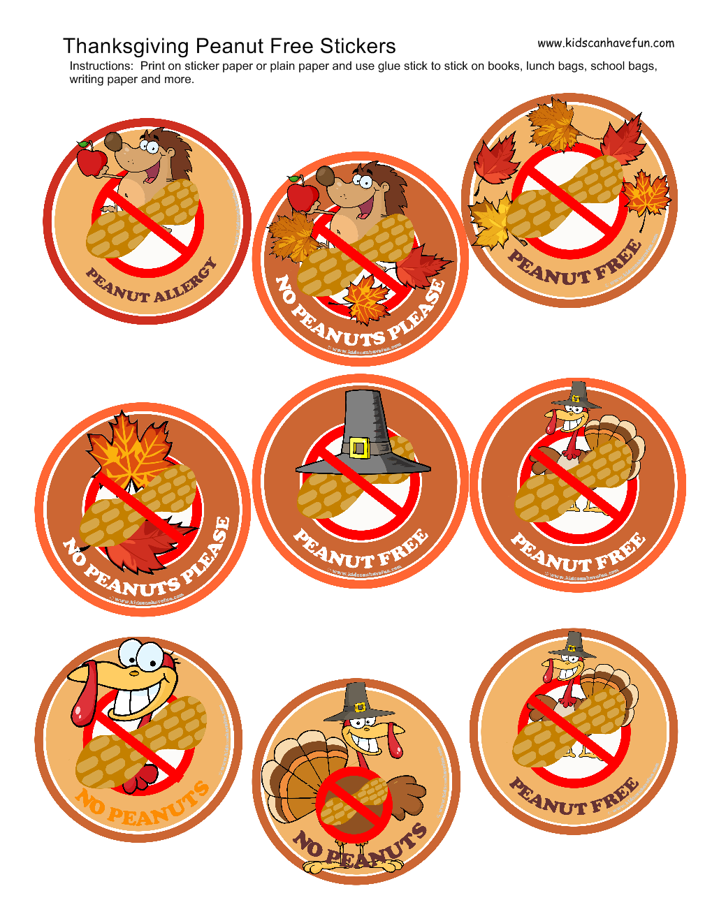 Printable Thanksgiving Peanut-Free Stickers | Allergy ...