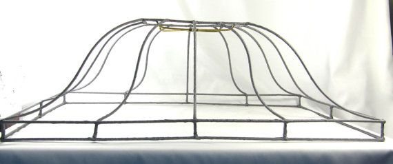 Lamp shade vintage large rectangle custom wire frame pendant for lamp shade vintage large custom wire frame by judislamps on etsy 3000 keyboard keysfo Image collections