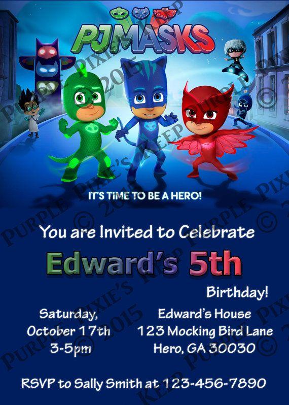 p j masks birthday invitation