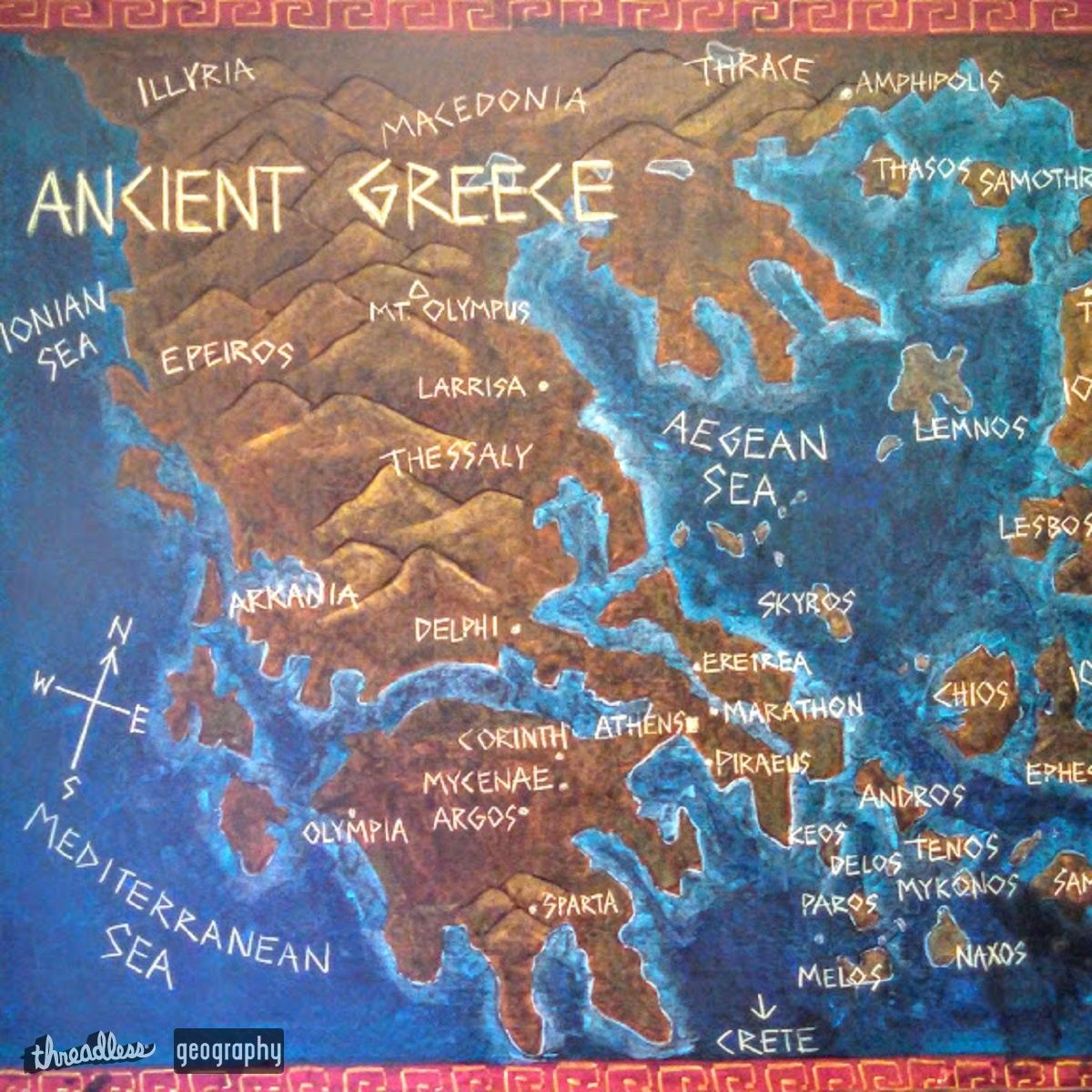 Map of Ancient Greece on Threadless Grade Five Waldorf Classroom
