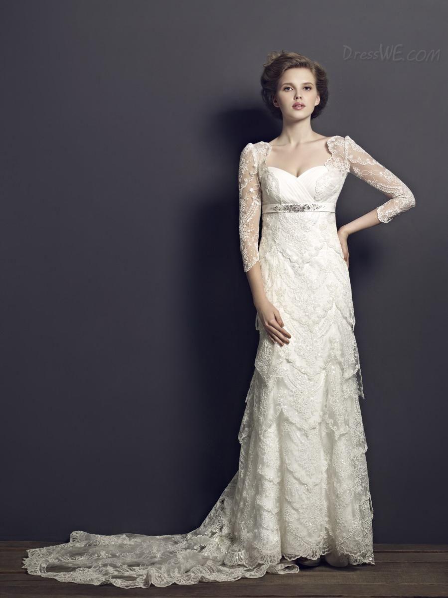 Vintage Sheath Column Sweetheart Long Sleeves Chapel Train Lace Wedding Dress 8894699 Dresses Dresswe Com