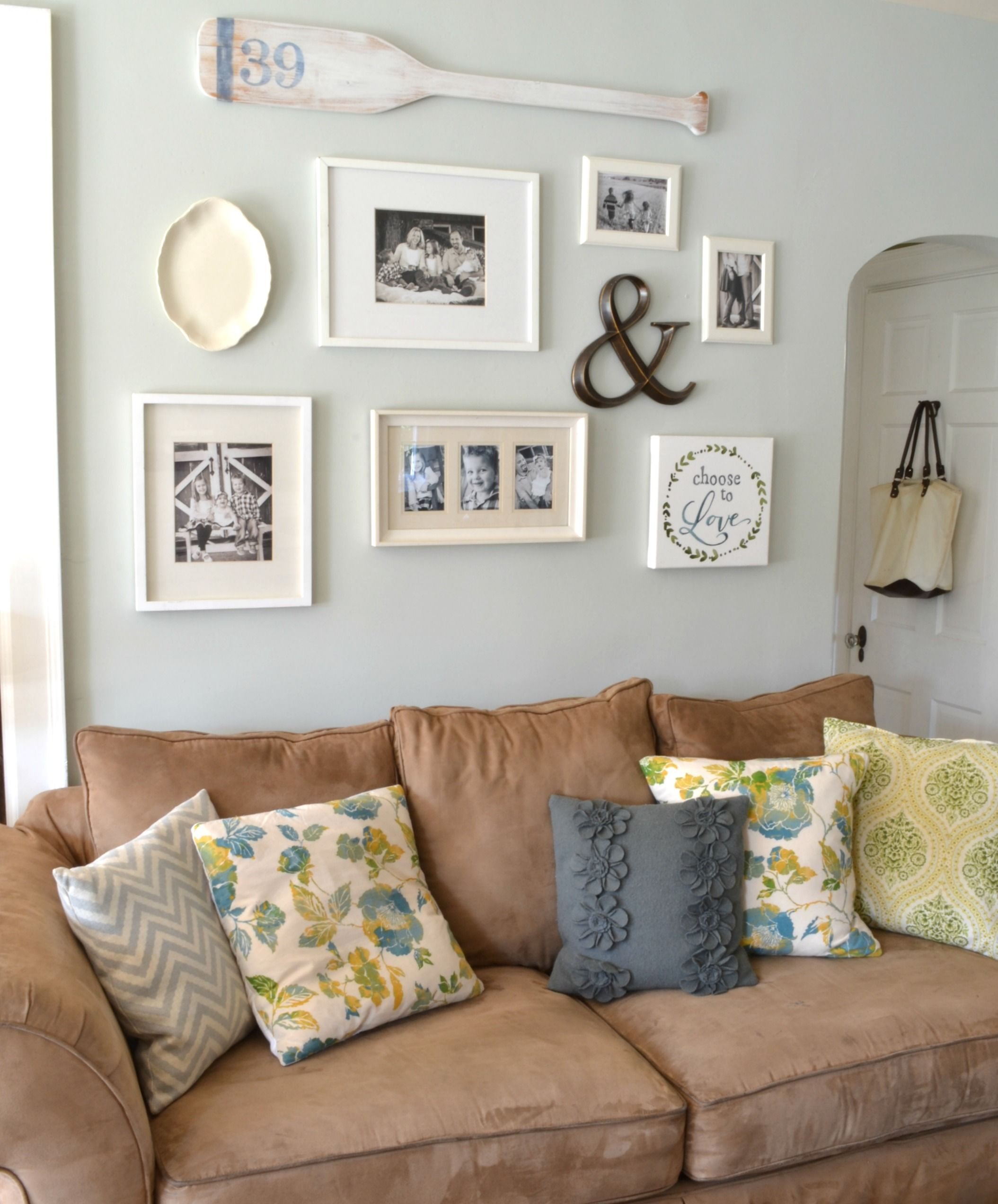 wall gallery ideas above couch Google Search Rustic