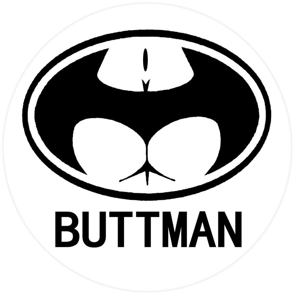 Funny buttman batman hard hat decal helmet sticker computer toolbox label business industrial facility maintenance safety personal protective