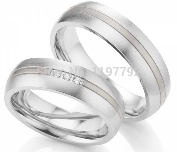 2014 Custom Tailor White Gold Color Titanium Surgical Steel Couple