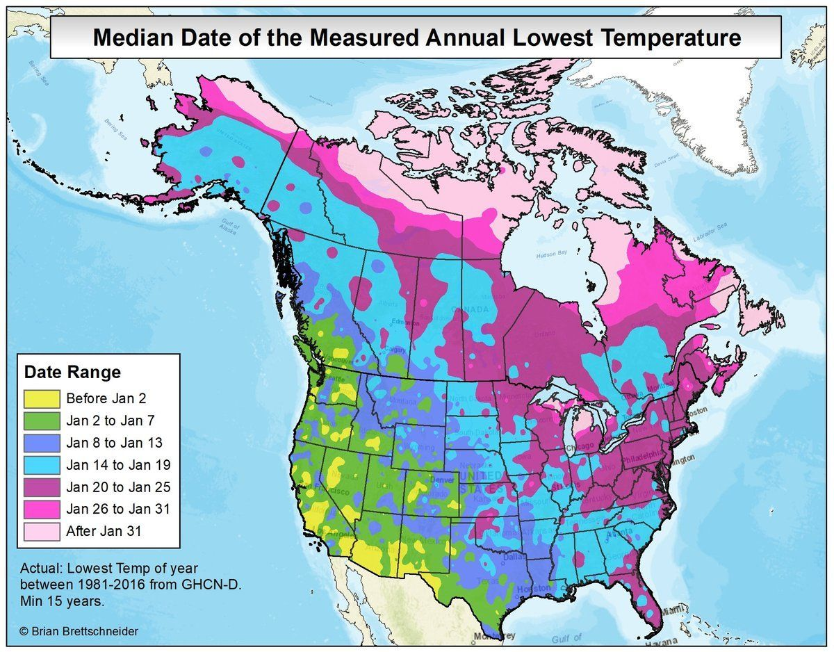 Canada Winter Temperature Map The median date in the U.S. and Canada for the low point of winter