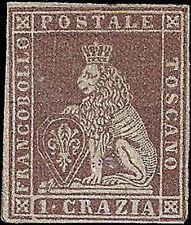 TOSCANA, 1 cr., N. 4e, NUOVO * MLH, AMPI MARGINI, (LEGGI)... RIF. 208-104