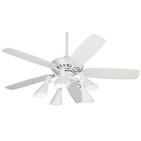 52 Journey White Ceiling Fan With 5 Light Kit 11h34 Lamps Plus White Ceiling Fan Ceiling Fan White Ceiling White ceiling fan light kit
