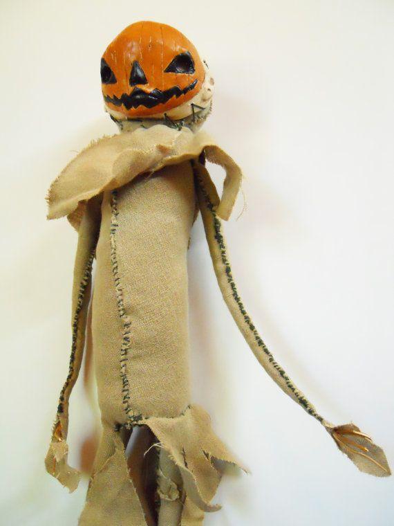 Scarecrow JackO'Lantern functional fabric doll by MercuryRusting, $140.00