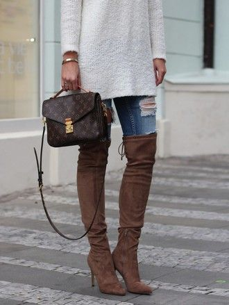 5365c108beb shoes tumblr brown boots high heels boots over the knee boots denim jeans  blue jeans ripped jeans sweater white sweater bag louis vuitton louis  vuitton bag