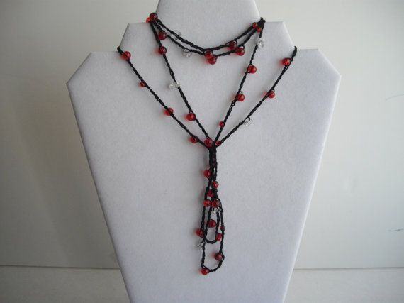 Red and Black Gatsby 1920's Style Long Versitile Crocheted Necklace by handcraftusa Etsy