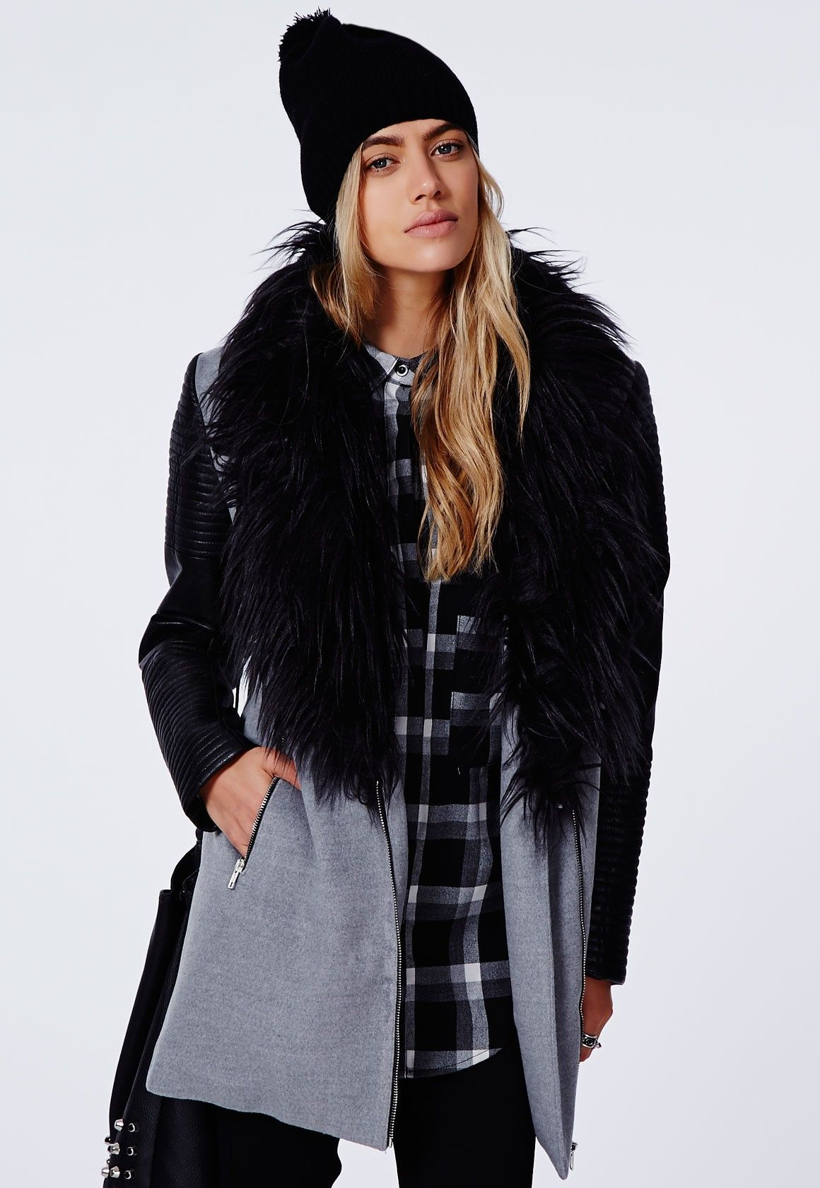 Orla Faux Fur Leather Biker Sleeve Coat Grey | Bikers, Missguided ...