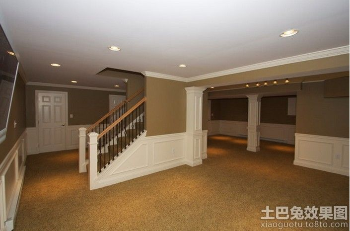 Basement Finishing Ideas With Stairs In The Middle Basement Design Basement Makeover Basement Remodeling