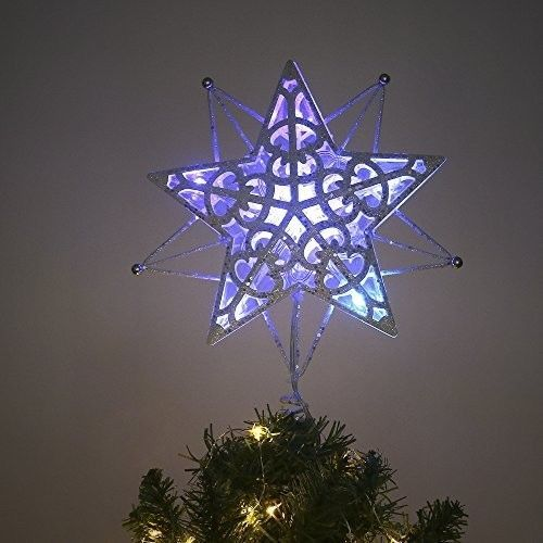 vintage christmas tree topper star decoration metal 10 blue led lights 106 inch - Led Christmas Tree Topper