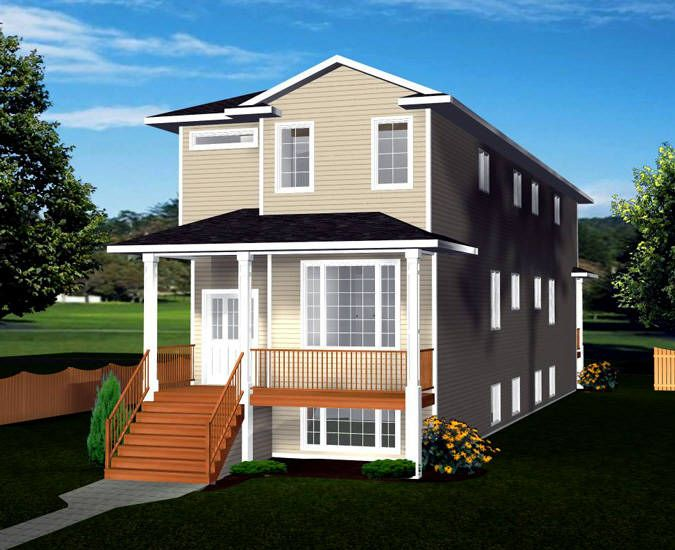 Narrow lot front to back 2 storey bi level duplex plan for Narrow duplex plans
