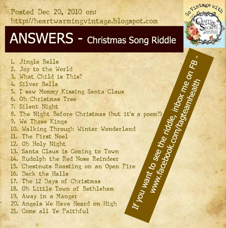 Christmas Song Riddles Answers Christmas trivia