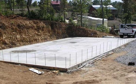 How to build a batting cage frame slab foundation for Block wall foundation