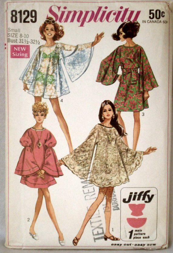 Vintage Mod Bell Sleeve Dress Pattern Simplicity 40 Bust 40 40 Magnificent Bell Sleeve Dress Pattern