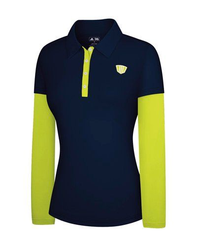 2c1020d9 Adidas Taylormade Womens FP Long Sleeve Color Block Polo Shirt Large 6  NavyLimeade * You can get more details by clicking on the image.