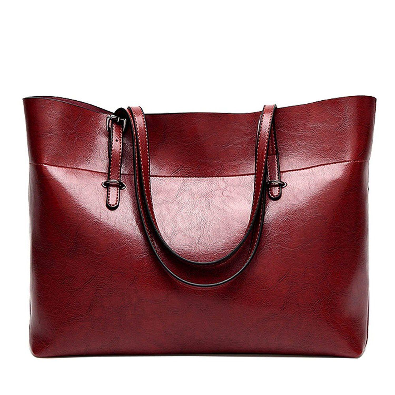 921b1f3a13db5 Women Handbag, ISHOWDEAL PU Leather Simple Fashion Women Tote Bags for work  Women Top Handle Satchel Handbags Bag Shoulder Hobo Messenger Bag