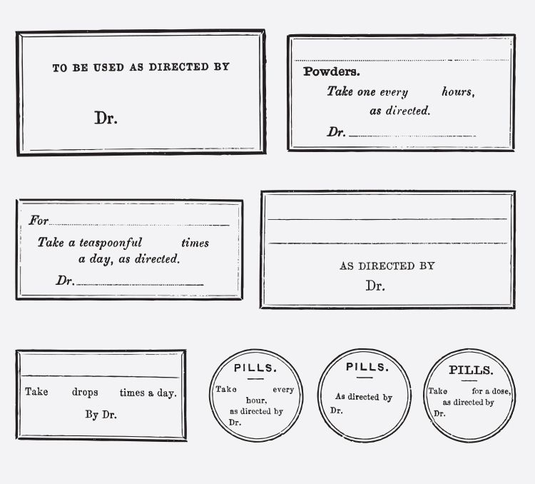 Doctor Prescription Label Tags Free Vintage Vector Printable