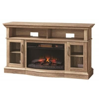 Home Decorators Collection Hawkings Point 59.5 In. Rustic Media Console  Electric Fireplace In Pine