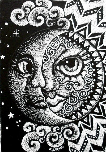 Sun and Moon ACEO scratchboard by MandarinMoon, via Flickr We're doing Scratchboard art at our next meeting!
