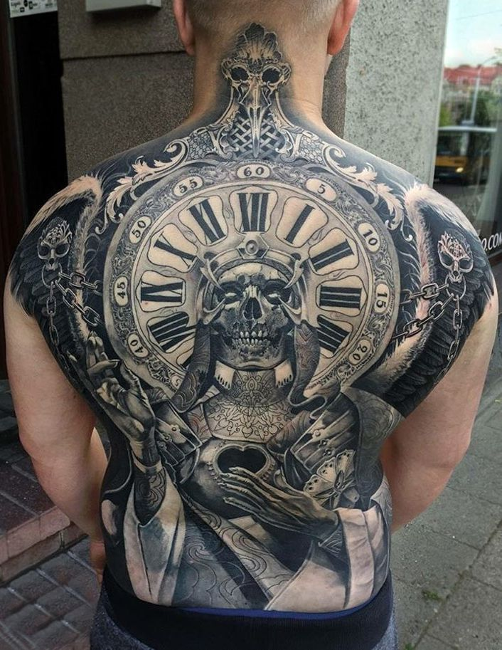 Clock Skull Full Back Piece Tattoo Tattoos Tatuaże Na