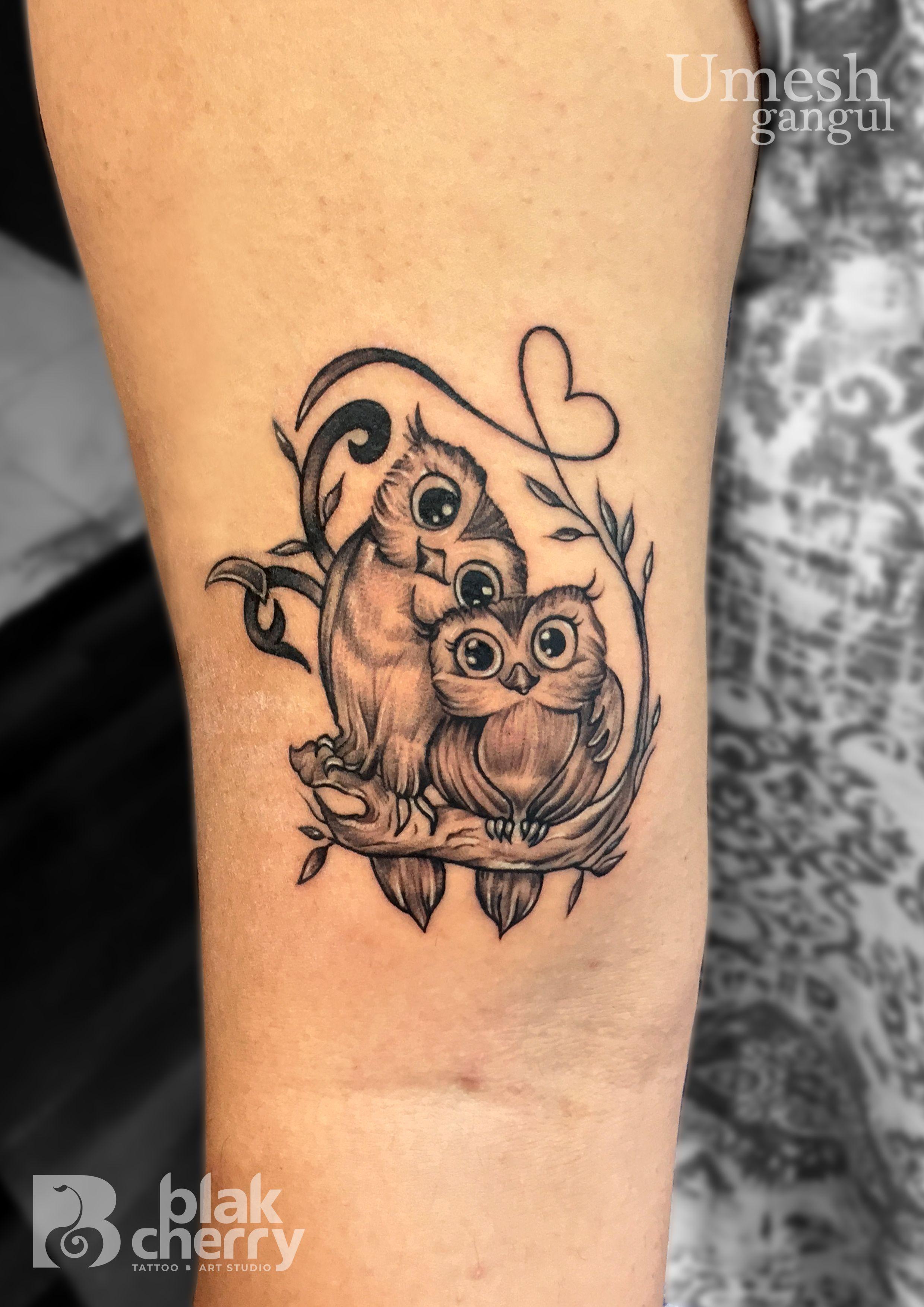 Cute Owl Tattoo Owl Tattoo Blakcherry Tattoo Studio Ahmednagar Cute Owl Tattoo Baby Owl Tattoos Tattoos