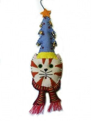Kitty Cat with Blue Christmas Tree Hat Wool Felted Applique Ornament | Little Handcrafts