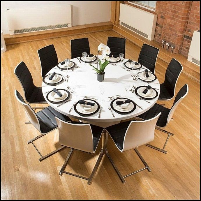 Round Dining Table For 10 Room, Round 10 Seat Dining Table