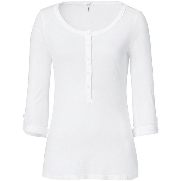SPLENDID White Light Jersey Button Henley ❤ liked on Polyvore